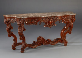 """#A Versailles Louis XIV French Baroque Period - 77"""" Handcrafted Reproduction Entry Table Console - Walnut Luxurie Furniture Finish, 6245"""