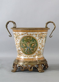 Heavenly Putti Pattern - Luxury Hand Painted Porcelain and Gilt Bronze Ormolu - 11 Inch Planter