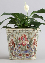 Iris Garden Pattern - Luxury Hand Painted Porcelain - 7.5 Inch Square Planter