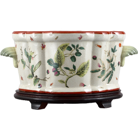 Wild Berries Pattern - Luxury Hand Painted Porcelain - 18 Inch Footbath with Stand