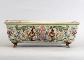 Iris Garden Pattern - Luxury Hand Painted Porcelain and Gilt Bronze Ormolu - 17.75 Inch Planter