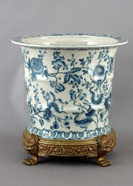 Indigo Blue and White Asian Garden Pattern - Luxury Hand Painted Porcelain and Gilt Bronze Ormolu - 15 Inch Round Planter