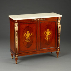 A Napoleon French Empire Style - 36 Inch Reproduction Commode | Entry Cabinet - Wood Luxurie Furniture Finish with Gold