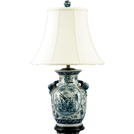 Oriental Blue and White Pattern - Luxury Hand Painted Porcelain - 28 Inch Lamp