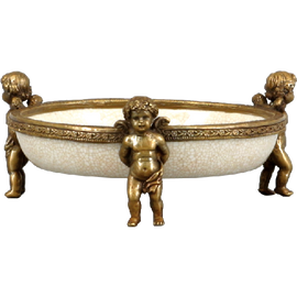White Bedside Cherub Coaster - Luxury Hand Painted Porcelain and Gilt Bronze Ormolu - Set of Two