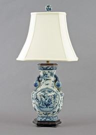 Oriental Blue and White Pattern - Luxury Hand Painted Porcelain - 30 Inch Lamp