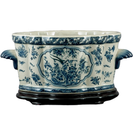 Oriental Blue and White Pattern - Luxury Hand Painted Porcelain - 18 Inch Footbath, Planter and Wooden Stand