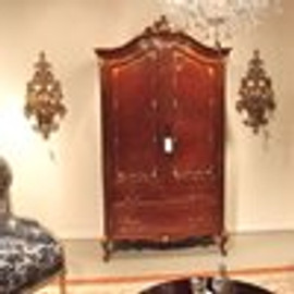 The Queen of Versailles Marie Leszezynska - Louis XV French Rococo Period - 96 Inch Handcrafted Reproduction Armoire | TV Cabinet - Wood Tone Luxurie Furniture Finish M