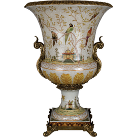 Pristine Parrots Pattern - Luxury Hand Painted Porcelain and Gilt Bronze Ormolu - 30 Inch Planter