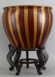 Fishbowl Planter - Red and Gold Vertical Stripes - 20 Inch Size