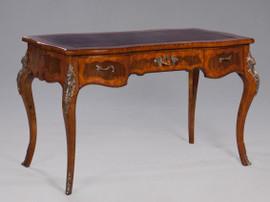 Louis XV Style - 51 Inch Rococo Reproduction Bureau Plat Writing Desk - Wood Luxurie Furniture Finish with Gilt Brass Ormolu Mounts