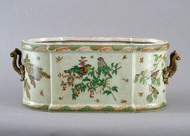 Paradise Garden Pattern - Luxury Hand Painted Porcelain and Gilt Bronze Ormolu - 21 Inch Footbath, Planter