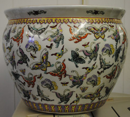 Mariposa Pattern - Luxury Hand Painted Porcelain - 16 Inch Fish Bowl, Planter