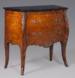Louis XV Style - Reproduction Rococo Bombe Commode   36 Inch Chest   Bedside   Entry with Marble Top - Wood Luxurie Furniture Finish with Gilt Brass Ormolu Mounts