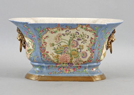 Glorious Morning Pattern - Luxury Hand Painted Porcelain and Gilt Bronze Ormolu - 15.5 Inch Planter