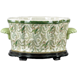 Classic Fern Pattern - Luxury Hand Painted Porcelain - 18 Inch Footbath, Planter and Wooden Stand