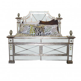 Silver Mirrored - 80 Inch Queen Size Bed - Louis XVI Neo Classical Style 6236 NB - 66UH