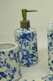 Blue and White Delicate Flower Vine - Luxury Hand Painted Chinese Porcelain - 6 Inch Lotion or Soap Dispenser - Style G094