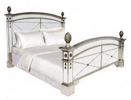 Silver Mirrored - 80 Inch Queen Size Bed - Louis XVI Neo Classical Style