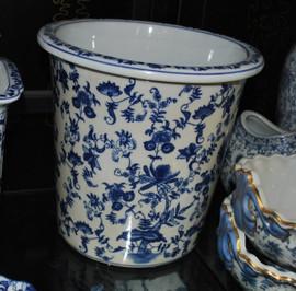 Blue and White Delicate Flower Vine - Luxury Hand Painted Chinese Porcelain - 10 Inch Waste Basket - Style 922