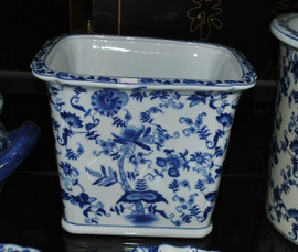 Blue and White Delicate Flower Vine - Luxury Hand Painted Chinese Porcelain - 10 Inch Rectangular Planter - Style 647