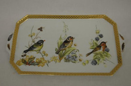 Bluebird Nature Scene - Luxury Handmade and Painted Reproduction Chinese Porcelain - 18 Inch Display or Vanity Tray - Style 194