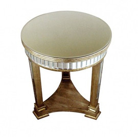 Silver Mirror - 25 Inch Accent, End Table - Modern Contemporary Art Deco Style