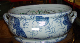 Blue and White Butterfly - Luxury Handmade and Painted Reproduction Chinese Porcelain - 22 Inch Footbath, Centerpiece, Planter Style 591
