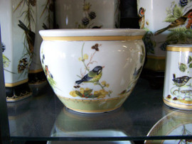 Bluebird Nature Scene - Luxury Handmade and Painted Reproduction Chinese Porcelain - 6 Inch Fish Bowl, Planter Style 35
