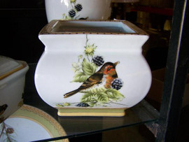 Bluebird Nature Scene - Luxury Handmade and Painted Reproduction Chinese Porcelain - 8 Inch Square Orchid Planter - Style 93A