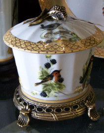 Bluebird Nature Scene - Luxury Handmade and Painted Reproduction Chinese Porcelain and Gilt Bronze Ormolu - 7 Inch Table Top Pet Treat or Covered Dish Style B236