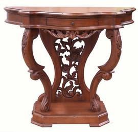 A Custom Decorator - Hardwood 56 Inch Demilune Console | Entry Table - Hand Carved
