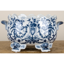 Blue and White Porcelain Planter with Scalloped Rim