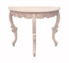 Custom Decorator - French Louis XV 36 Inch Demilune Console Entry Table