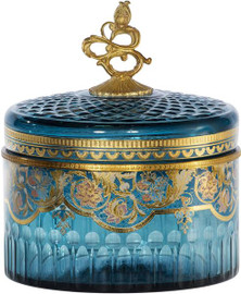 Luxe Life Finely Finished Cut Crystal Glass and Gilt Bronze Ormolu, 8 Inch Covered Box