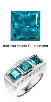 #10587 GuyDesign® Platinum Mens 3 Square-Cut 3.6 Ct. Important Teal Blue Diamond Ring