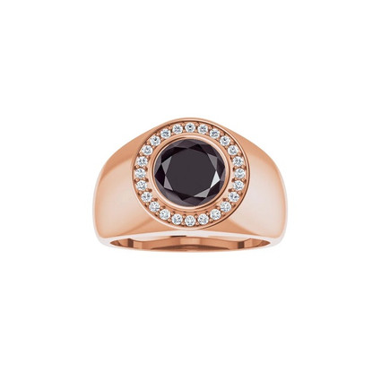 #4193 Heavy 18K Rose Gold H&A Diamonds 2 ct. Black Diamond Men's Halo Ring