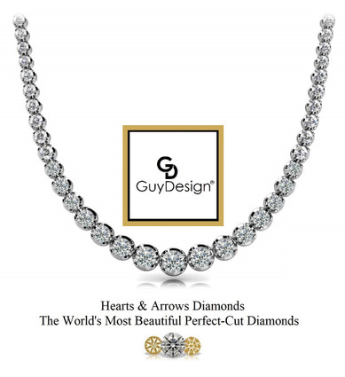 #22AF Natural Hearts & Arrows 5.95 ct. Super Ideal Cut Diamond Platinum Necklace 20 inches Long