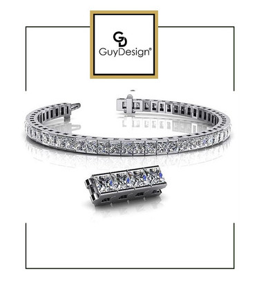 #4BZ 9 inch Men's North Star Diamond Geometric Bracelet, Natural Precise Cut 33 Carat Square-Cut Diamonds, 950 Platinum, Each Diamond is 3/4 of a Carat.
