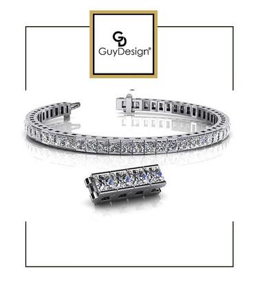 #4BE 7.5 inch North Star Diamond Geometric Bracelet, Natural Precise Cut 27 Carat Square Cut Diamonds, 950 Platinum, Each Diamond is 3/4 of a Carat.