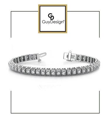 #4EA Natural Hearts & Arrows Super Ideal Cut Diamond 3.08 carat TDW Vintage Bracelet, Platinum.