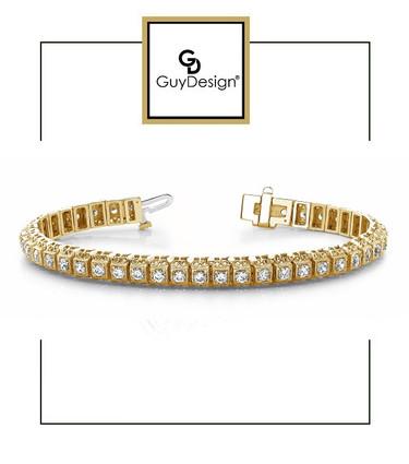 #4EB Natural Hearts & Arrows Super Ideal Cut Diamond 3.08 carat TDW Vintage Bracelet, 18k Yellow Gold.