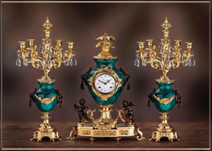 Antique Style French Louis Crystal and Malachite, d'Oro Ormolu Garniture Mantel, Table Clock, Six Light Candelabra Set - 24k Gold, Polychrome Patina - Handmade Reproduction of a 17th, 18th Century Dore Bronze Antique, 6269