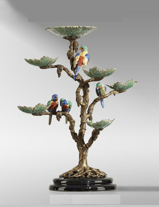 """***Lyvrich Objet d'Art   Handmade Tiered Compote, Fruit Bowl, Epergne   Grape Leaves, Clusters, Parrots,   Porcelain with Gilded Dior Ormolu Trim,   23.81""""t X 20.07""""w X 12.59""""d   6519"""