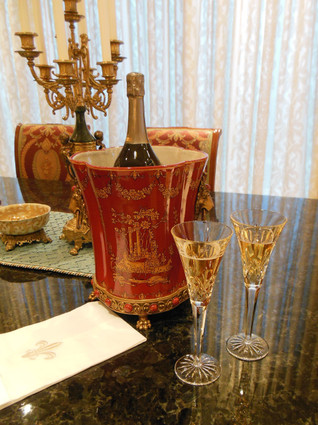 ***Lyvrich d'Elegance, Porcelain and Gilded Dior Ormolu   Glen Cove, Collectors Series, Oversize Wine, Champagne Cooler   Warm Red and Gold Jeweled Chinoiserie   12.00t X 10.05w X 10.05d   6592