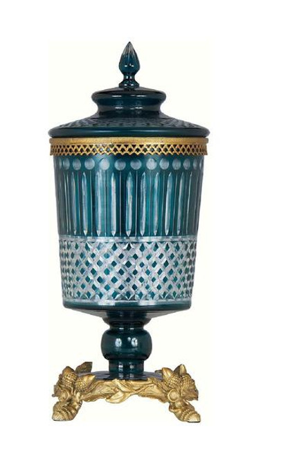 Luxe Life Finely Finished Cut Crystal Glass and Gilt Bronze Ormolu, 16 Inch Decorative Container