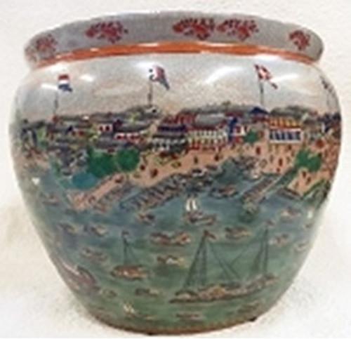 "Chinese Porcelain Fish Bowl Planter 24"" - Style 35"