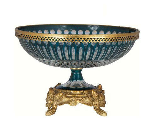 Luxe Life Finely Finished Cut Crystal Glass and Gilt Bronze Ormolu, 12 Inch Pedestal Bowl 6205 ME - Pedestal Bowl