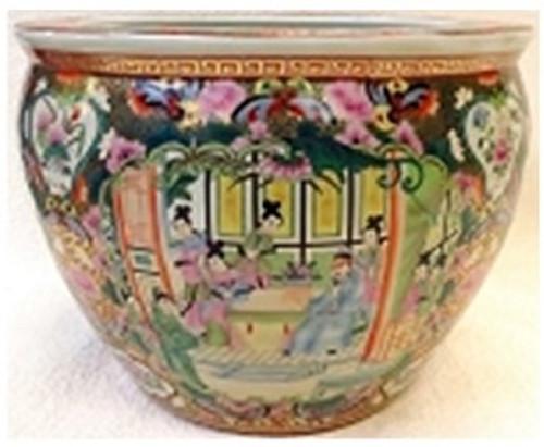 "Chinese Porcelain Fish Bowl Planter 20"" - Style 35 - Rose Medallion"