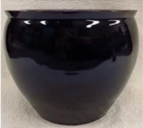 """Chinese Porcelain Fish Bowl Planter 20"""" - Style 35 - Solid Ebony Black"""